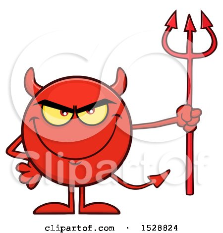 Clipart of a Round Red Devil Holding a Pitchfork and Grinning - Royalty Free Vector Illustration by Hit Toon