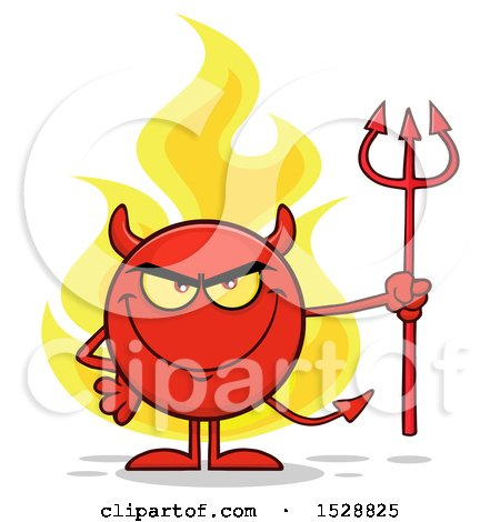 Clipart of a Round Red Devil Holding a Pitchfork and Grinning with Flames - Royalty Free Vector Illustration by Hit Toon