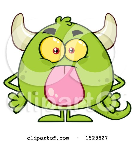Clipart of a Short Green Monster Sticking His Tongue out - Royalty Free Vector Illustration by Hit Toon