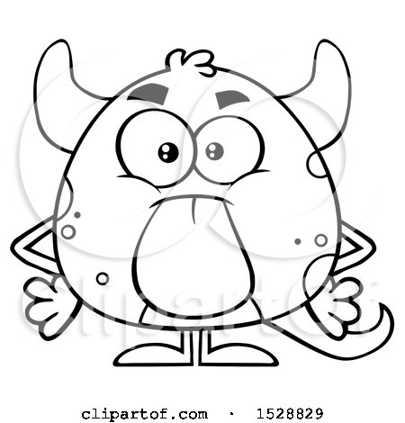 Clipart of a Black and White Short Monster Sticking His Tongue out - Royalty Free Vector Illustration by Hit Toon
