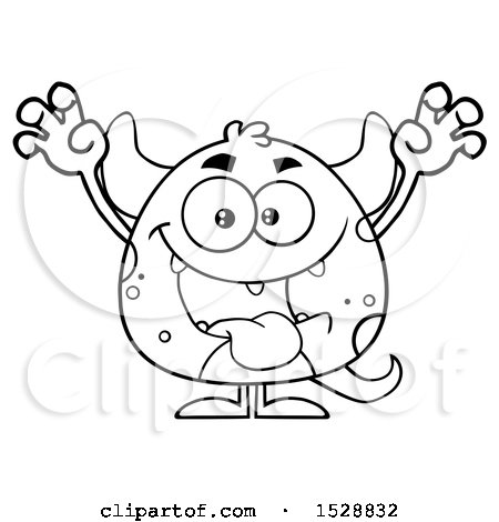 Clipart of a Black and White Short Monster in a Scare Pose - Royalty Free Vector Illustration by Hit Toon