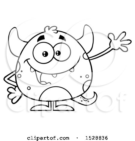 Clipart of a Black and White Short Monster Waving - Royalty Free Vector Illustration by Hit Toon