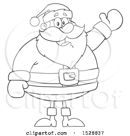 Clipart of a Black and White Happy Christmas Santa Claus Presenting - Royalty Free Vector Illustration by Hit Toon
