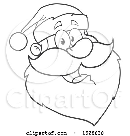 Clipart of a Black and White Happy Santa Claus Face - Royalty Free Vector Illustration by Hit Toon
