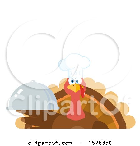 Clipart of a Thanksgiving Chef Turkey Bird Holding a Cloche Platter, with Text Space - Royalty Free Vector Illustration by Hit Toon