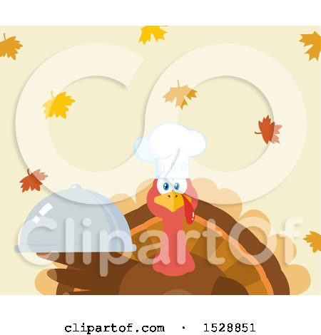 Clipart of a Thanksgiving Chef Turkey Bird Holding a Cloche Platter over Falling Autumn Leaves - Royalty Free Vector Illustration by Hit Toon