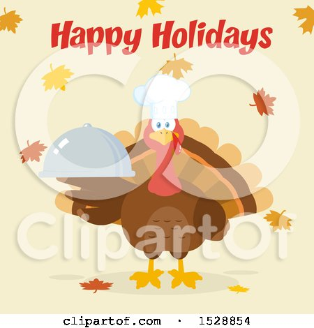 Clipart of a Happy Holidays Greeting over a Thanksgiving Chef Turkey Bird Holding a Cloche Platter over Falling Autumn Leaves - Royalty Free Vector Illustration by Hit Toon