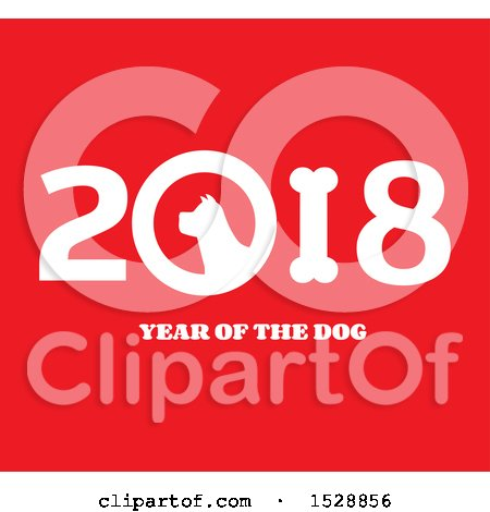 Clipart of a White Chinese New Year 2018 with a Dog on Red - Royalty Free Vector Illustration by Hit Toon