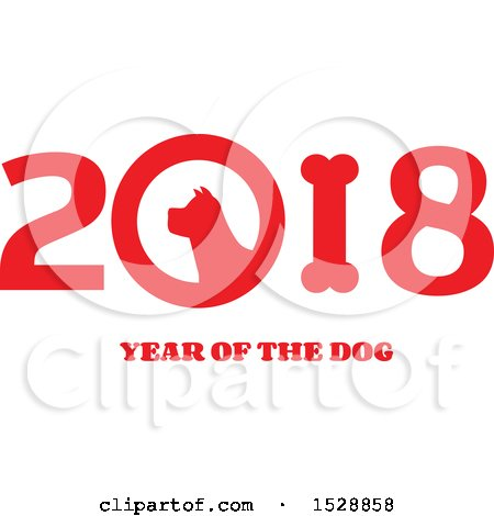 Clipart of a Chinese New Year 2018 with a Dog - Royalty Free Vector Illustration by Hit Toon