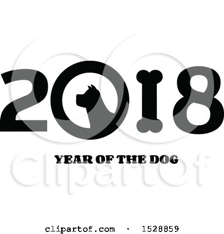 Clipart of a Black and White Chinese New Year 2018 with a Dog - Royalty Free Vector Illustration by Hit Toon