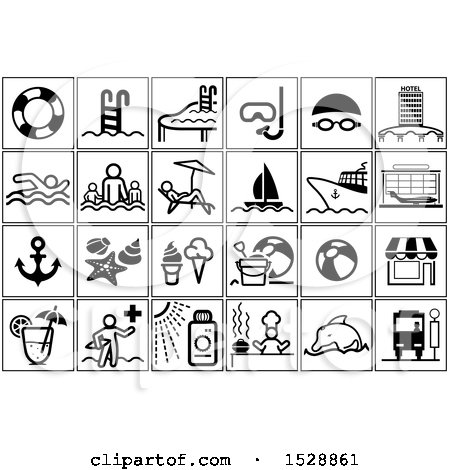 Clipart of Black and White Summer Travel Icons - Royalty Free Vector Illustration by dero