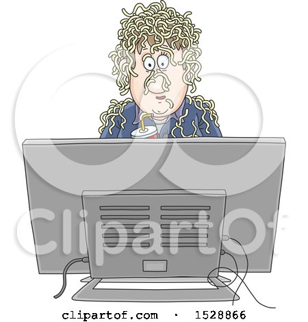 Clipart of a Man Holding a Soda and Watching Fake News with Noodles on His Head - Royalty Free Vector Illustration by Alex Bannykh