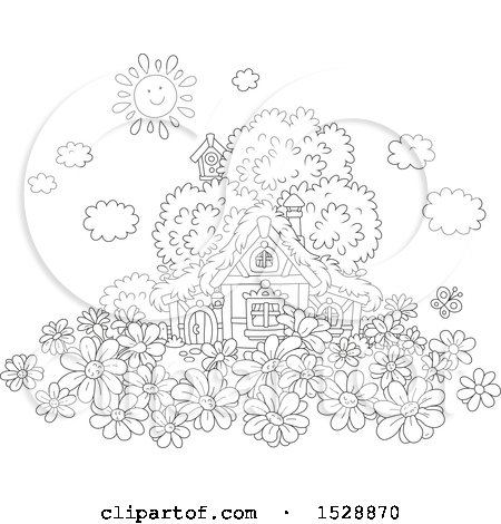 Clipart of a Black and White Happy Sun over a Cottage with Daisy Flowers - Royalty Free Vector Illustration by Alex Bannykh