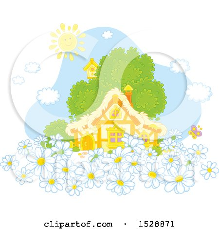Clipart of a Happy Sun over a Cottage with Spring Daisy Flowers - Royalty Free Vector Illustration by Alex Bannykh