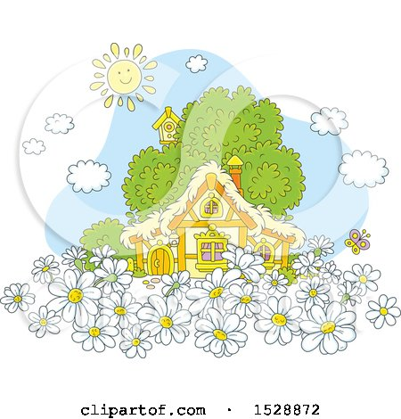 Clipart of a Happy Sun over a Cottage with Daisy Flowers - Royalty Free Vector Illustration by Alex Bannykh