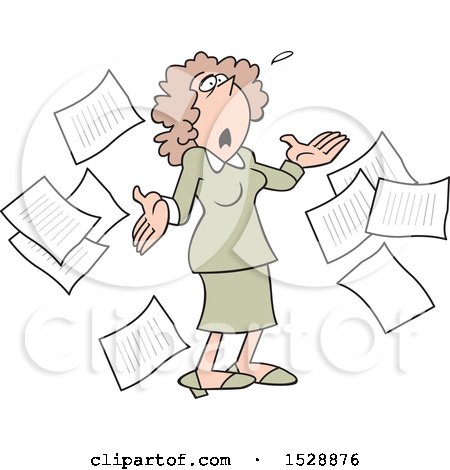 Clipart of a Cartoon White Business Woman Surrounded by Documents, Looking up and Saying What Now - Royalty Free Vector Illustration by Johnny Sajem