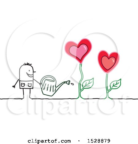Clipart of a Stick Man Watering Love Heart Flowers in a Garden - Royalty Free Vector Illustration by NL shop