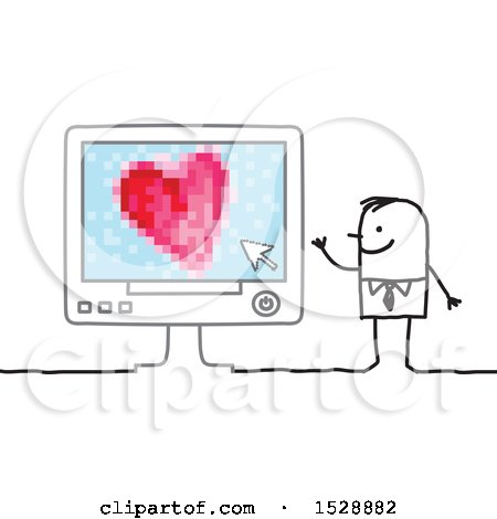 Clipart of a Stick Man with a Love Heart on a Computer Screen - Royalty Free Vector Illustration by NL shop