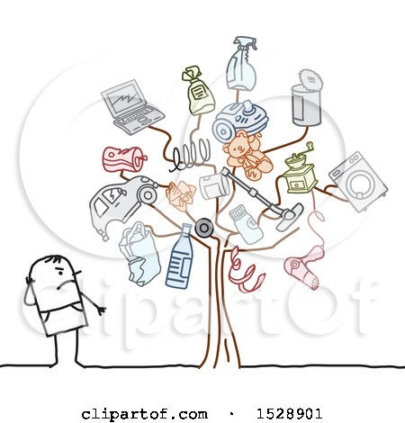 Clipart of a Stick Man by a Tree with Pollution Icons - Royalty Free Vector Illustration by NL shop