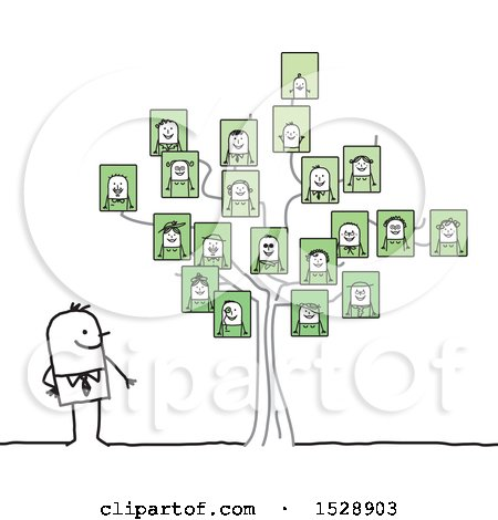Clipart of a Stick Man by a Family Tree with Portraits - Royalty Free Vector Illustration by NL shop