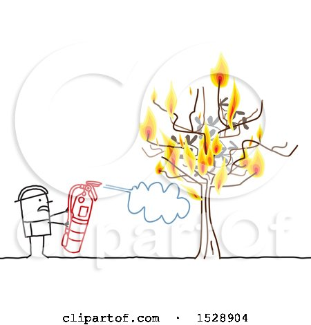 Clipart of a Stick Man Firefighter Using an Extinguisher to Put out a Fire on a Tree - Royalty Free Vector Illustration by NL shop