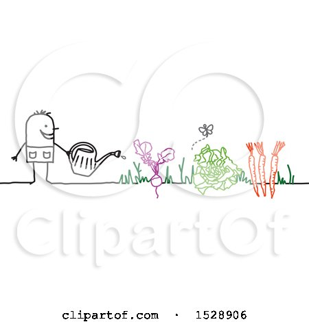 Clipart of a Stick Man Watering Vegetables in a Garden - Royalty Free Vector Illustration by NL shop
