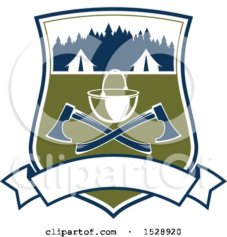 Clipart of a Camping Shield Design with Tents, a Pot and Crossed Axes over a Banner - Royalty Free Vector Illustration by Vector Tradition SM