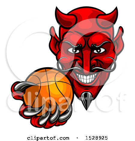 Clipart of a Grinning Evil Red Devil Holding out a Basketball in a Clawed Hand - Royalty Free Vector Illustration by AtStockIllustration