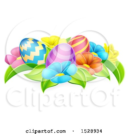 Clipart of Colorful Flowers and Easter Eggs - Royalty Free Vector Illustration by AtStockIllustration