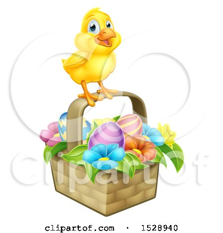 Clipart of a Yellow Chick on a Basket with Easter Eggs and Flowers - Royalty Free Vector Illustration by AtStockIllustration