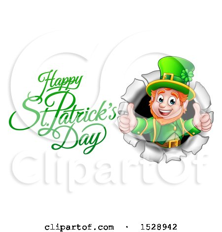 Clipart of a Happy St Patricks Day Greeting by a Leprechaun Giving Two Thumbs up and Breaking Through a Wall - Royalty Free Vector Illustration by AtStockIllustration