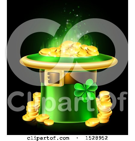 Clipart of a St Patricks Day Leprechaun Hat Full of Gold Coins, on a Black Background - Royalty Free Vector Illustration by AtStockIllustration