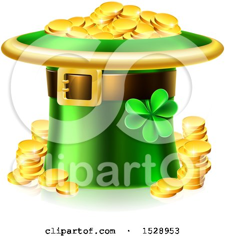 Clipart of a St Patricks Day Leprechaun Hat Full of Gold Coins - Royalty Free Vector Illustration by AtStockIllustration