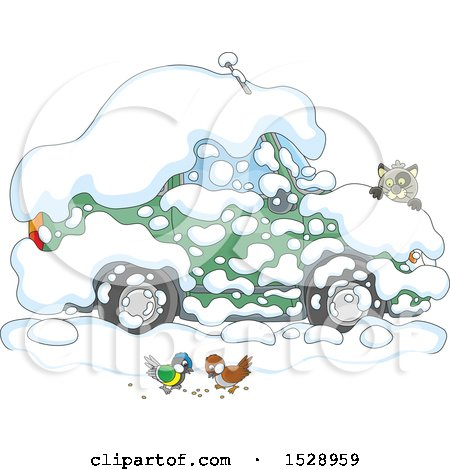 Clipart of a Car Buried in Snow, with a Cat Peeking over the Hood to Watch Birds - Royalty Free Vector Illustration by Alex Bannykh