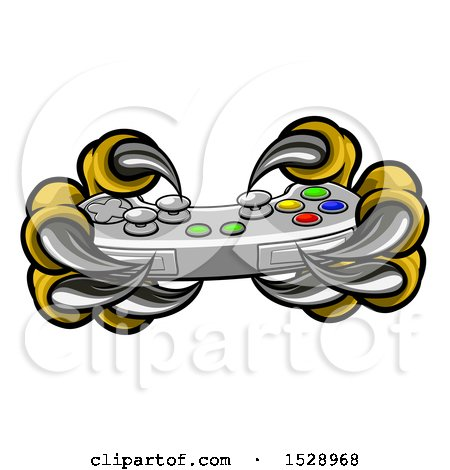 Clipart of a Monster Claws Playing with a Video Game Controller - Royalty Free Vector Illustration by AtStockIllustration
