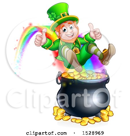 Clipart of a St Patricks Day Leprechaun Giving Two Thumbs Up, Riding a Rainbow to the Top of a Pot of Gold - Royalty Free Vector Illustration by AtStockIllustration