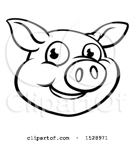 Clipart Of A Black And White Happy Pig Face