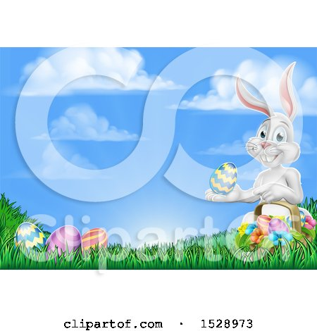 Clipart of a Happy White Easter Bunny Rabbit with a Basket and Eggs in Grass - Royalty Free Vector Illustration by AtStockIllustration