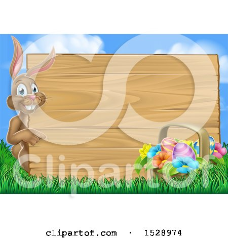 Clipart of a Happy Brown Easter Bunny Rabbit Pointing Around a Wood Sign Against Sky - Royalty Free Vector Illustration by AtStockIllustration