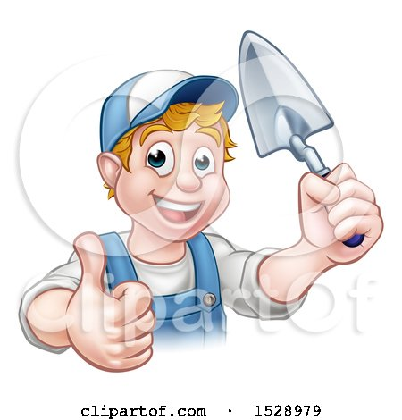 Clipart of a Happy White Male Gardener Holding a Garden Trowel and Giving a Thumb up - Royalty Free Vector Illustration by AtStockIllustration