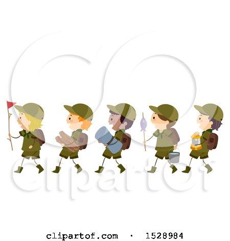 Clipart of a Line of Scout Boys Carrying Camping Gear - Royalty Free Vector Illustration by BNP Design Studio