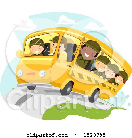Clipart of a Bus Full of Scout Boys - Royalty Free Vector Illustration by BNP Design Studio