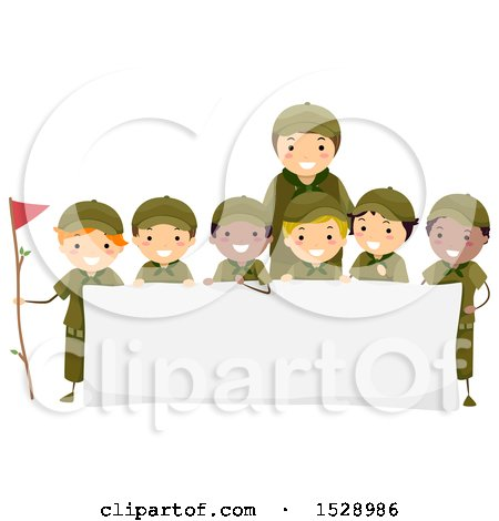Clipart of a Leader and Group of Scout Boys Around a Banner - Royalty Free Vector Illustration by BNP Design Studio