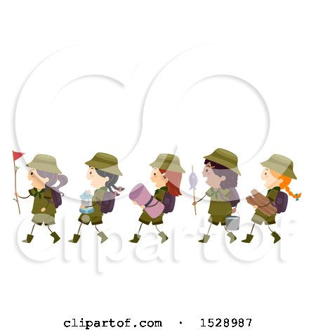 Clipart of a Line of Scout Girls Carrying Camping Gear - Royalty Free Vector Illustration by BNP Design Studio