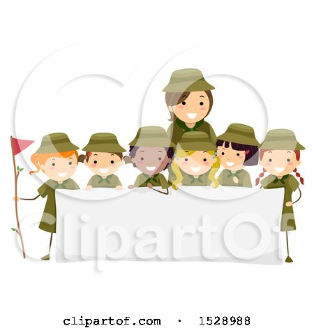 Clipart of a Leader and Group of Scout Girls Around a Sign - Royalty Free Vector Illustration by BNP Design Studio