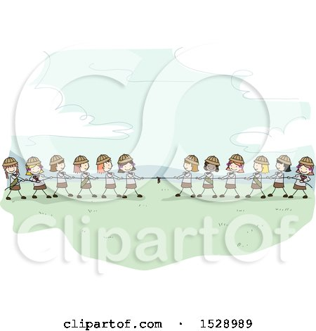 Clipart of a Sketched Group of Scout Girls Playing Tug of War - Royalty Free Vector Illustration by BNP Design Studio