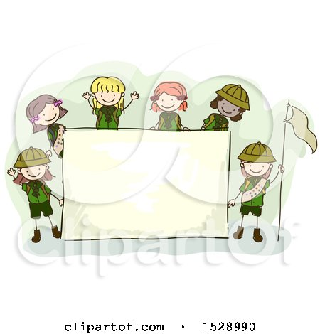 Clipart of a Sketched Group of Scout Girls Around a Sign - Royalty Free Vector Illustration by BNP Design Studio