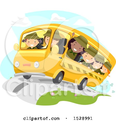 Clipart of a Group of Scout Girls on a Bus - Royalty Free Vector Illustration by BNP Design Studio