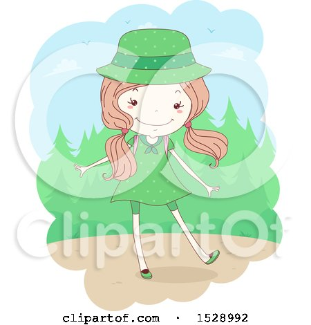 Clipart of a Sketched Scout Girl in a Green Uniform near the Woods - Royalty Free Vector Illustration by BNP Design Studio