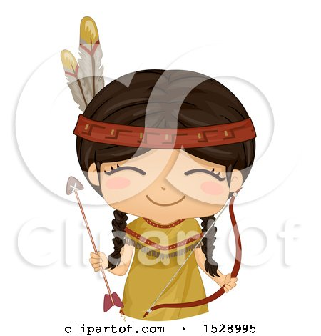 Clipart of a Happy Native American Girl with a Bow and Arrow - Royalty Free Vector Illustration by BNP Design Studio